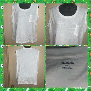 MADEWELL WHITE SLEEVELESS COTTON MUSCLE TOP SZ L